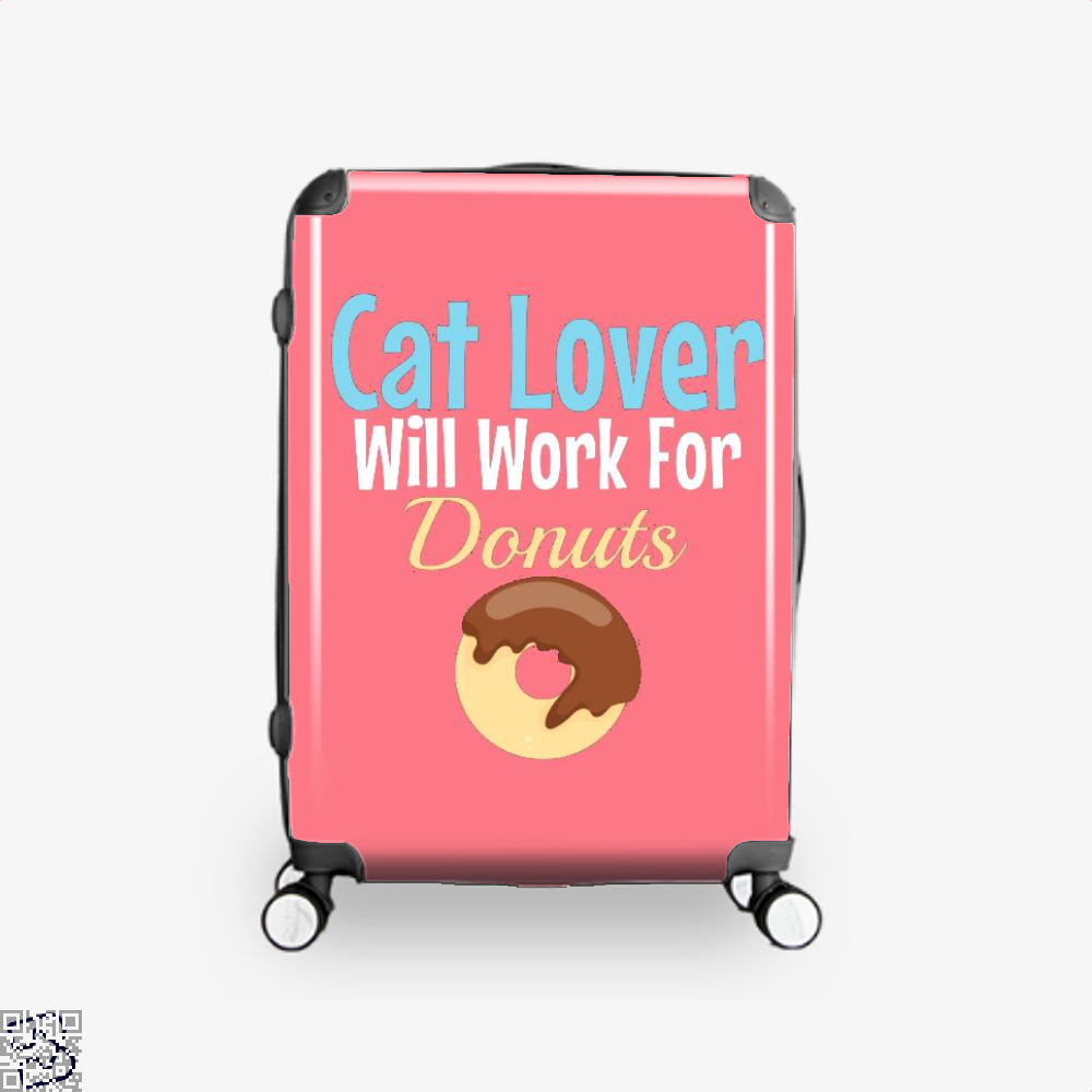 Cat Lover Will Work For Donuts Suitcase - Pink / 16 - Productgenjpg