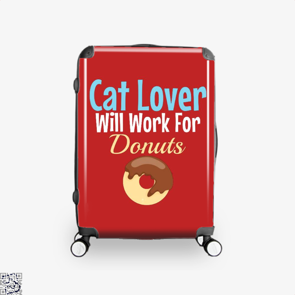 Cat Lover Will Work For Donuts Suitcase - Red / 16 - Productgenjpg
