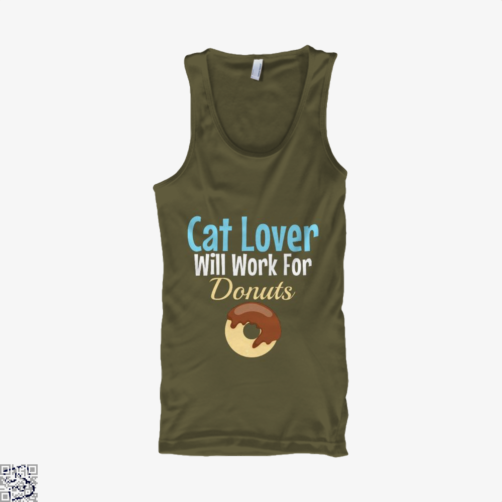 Cat Lover Will Work For Donuts Tank Top - Men / Brown / X-Small - Productgenjpg