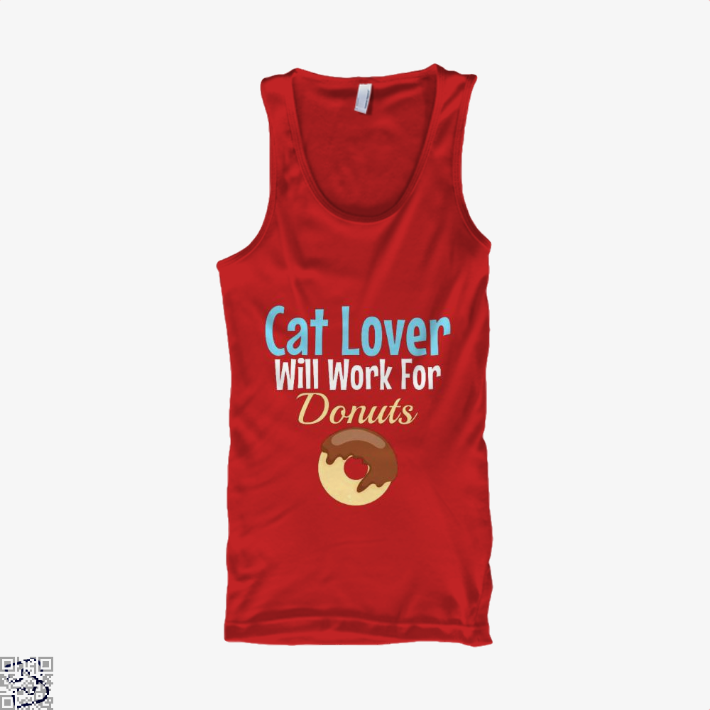 Cat Lover Will Work For Donuts Tank Top - Women / Red / X-Small - Productgenjpg