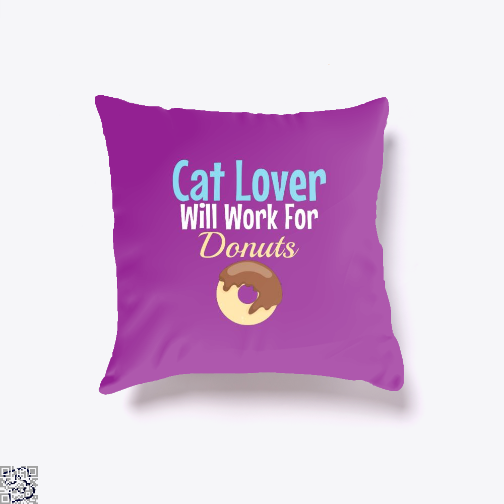 Cat Lover Will Work For Donuts Throw Pillow Cover - Purple / 16 X - Productgenjpg