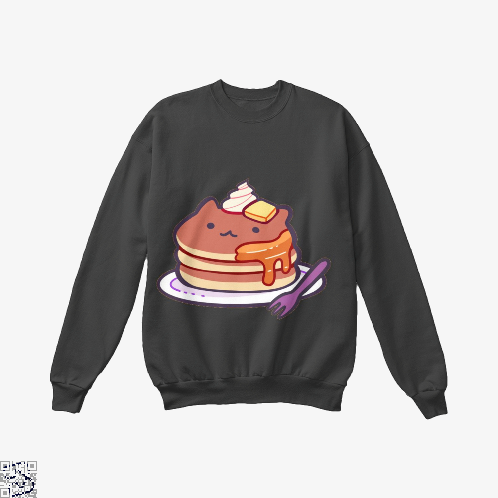 Cat Pancakes Waffle Crew Neck Sweatshirt - Black / X-Small - Productgenapi