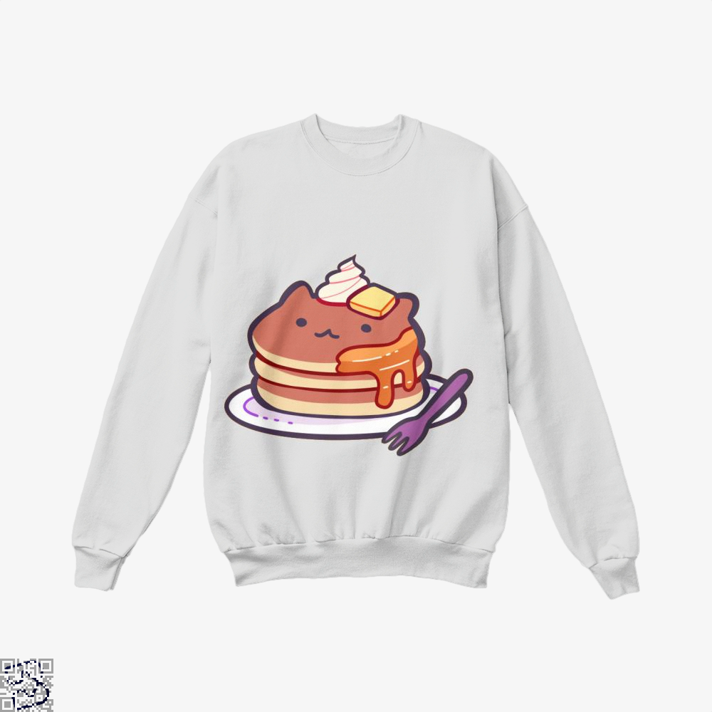 Cat Pancakes Waffle Crew Neck Sweatshirt - White / X-Small - Productgenapi