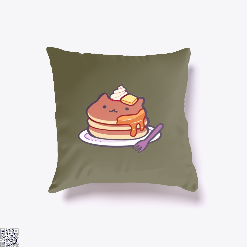 Cat Pancakes Waffle Throw Pillow Cover - Brown / 16 X - Productgenapi