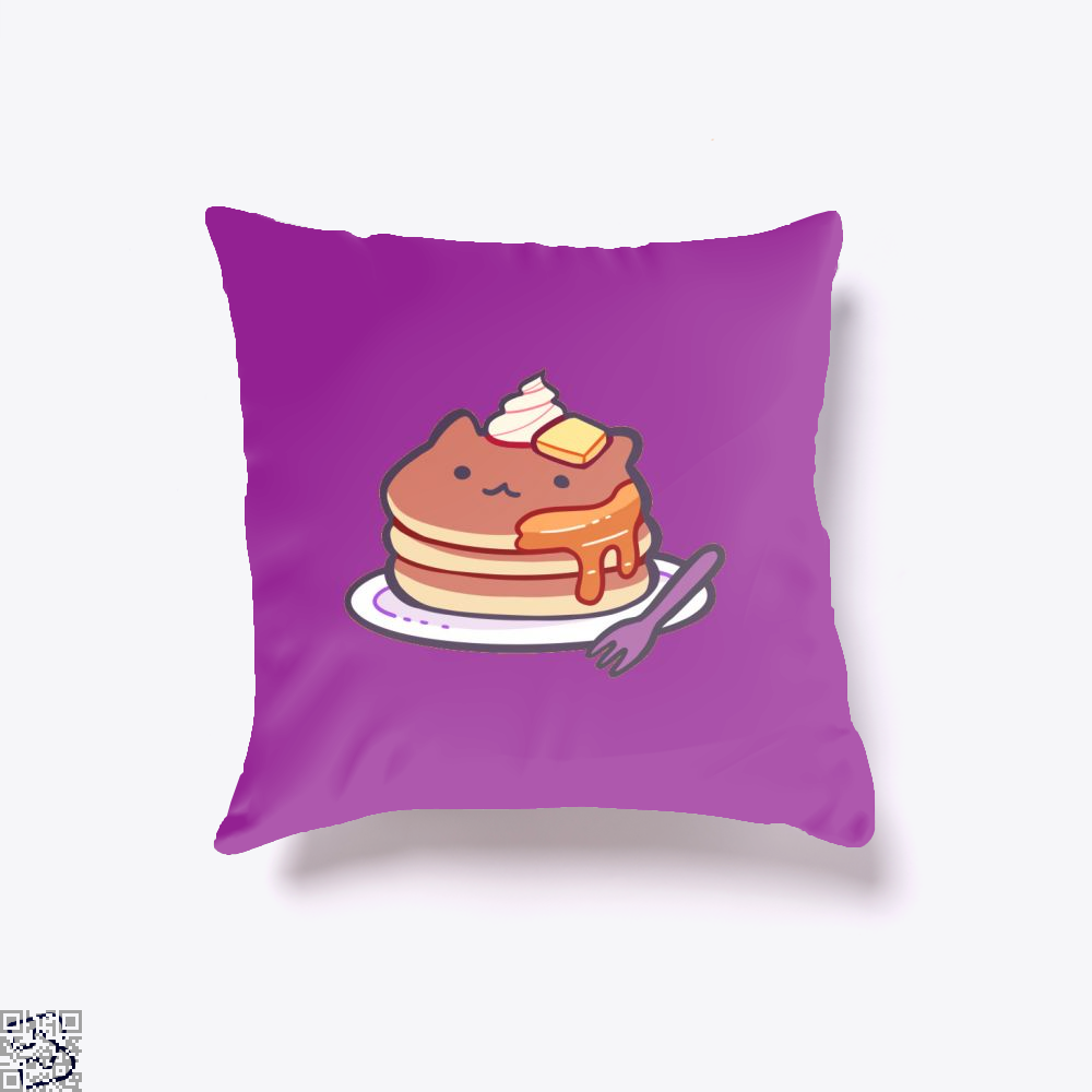 Cat Pancakes Waffle Throw Pillow Cover - Purple / 16 X - Productgenapi