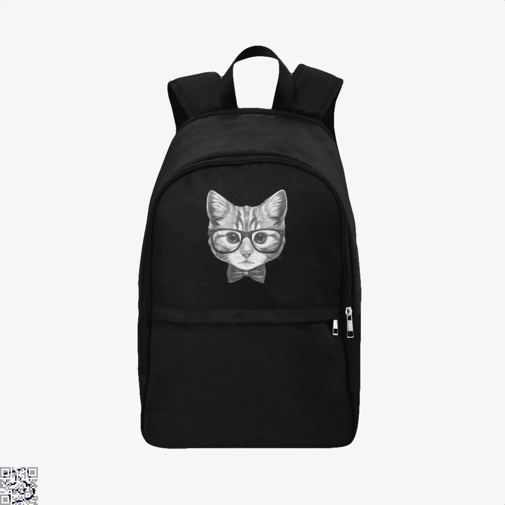 Cat With Glasses And Bow Tie Backpack - Black / Adult - Productgenjpg