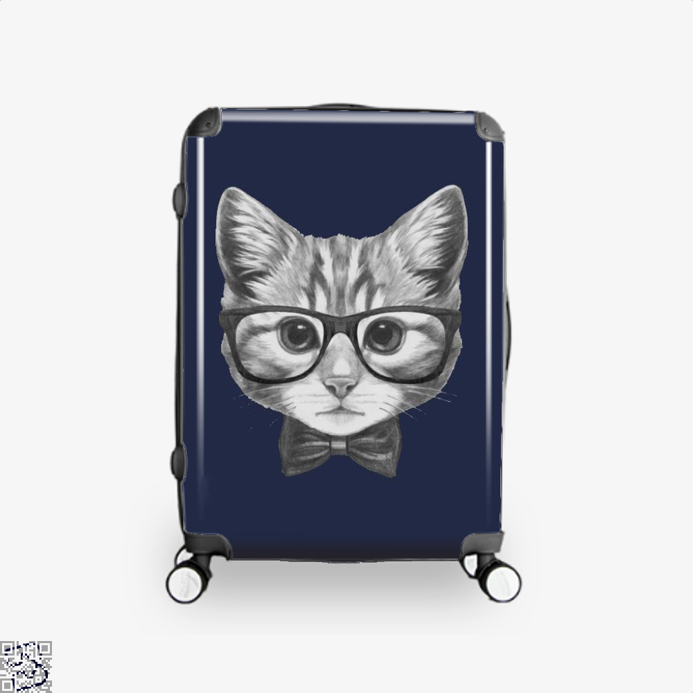 Cat With Glasses And Bow Tie Suitcase - Blue / 16 - Productgenjpg