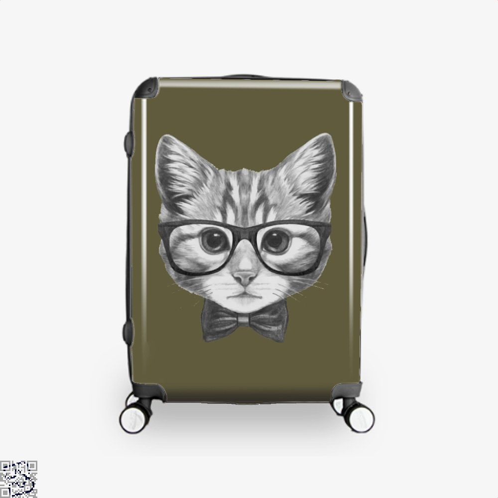 Cat With Glasses And Bow Tie Suitcase - Brown / 16 - Productgenjpg