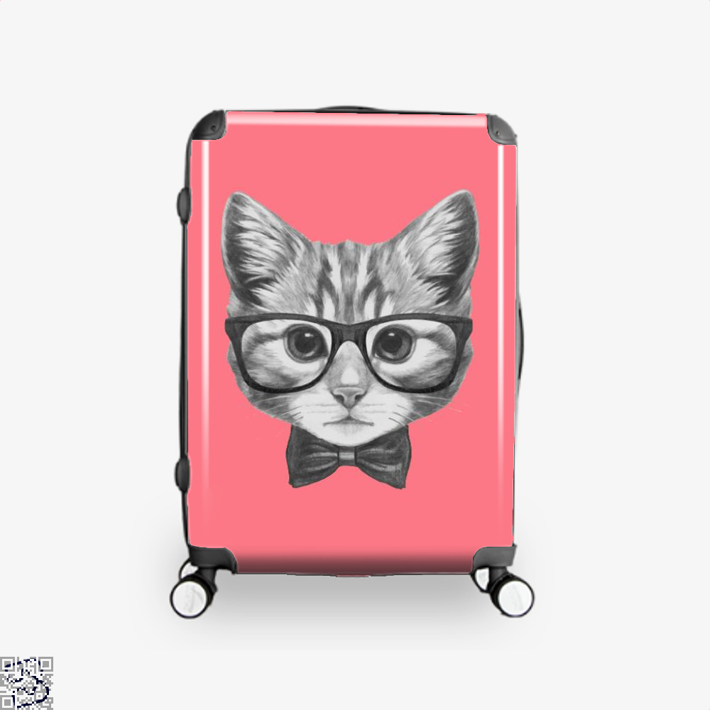 Cat With Glasses And Bow Tie Suitcase - Pink / 16 - Productgenjpg