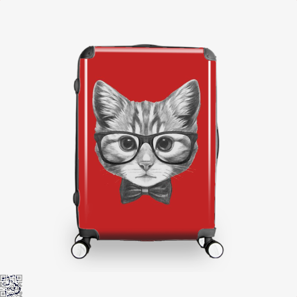 Cat With Glasses And Bow Tie Suitcase - Red / 16 - Productgenjpg