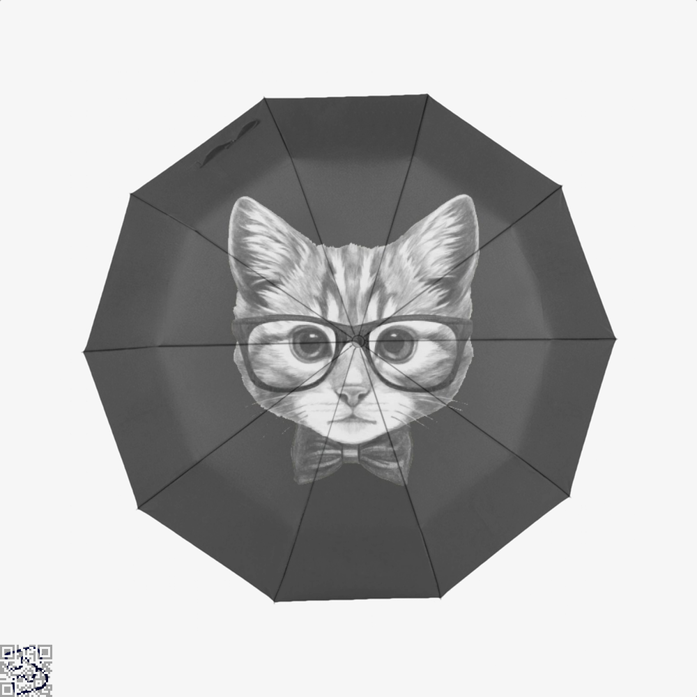 Cat With Glasses And Bow Tie Umbrella - Black - Productgenjpg