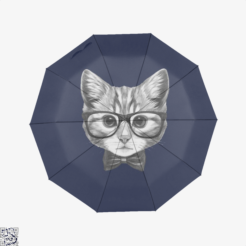 Cat With Glasses And Bow Tie Umbrella - Blue - Productgenjpg