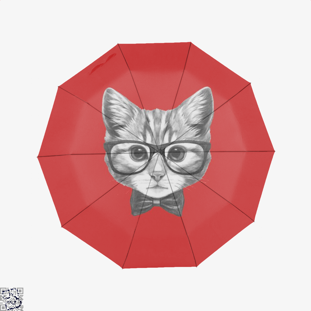 Cat With Glasses And Bow Tie Umbrella - Red - Productgenjpg