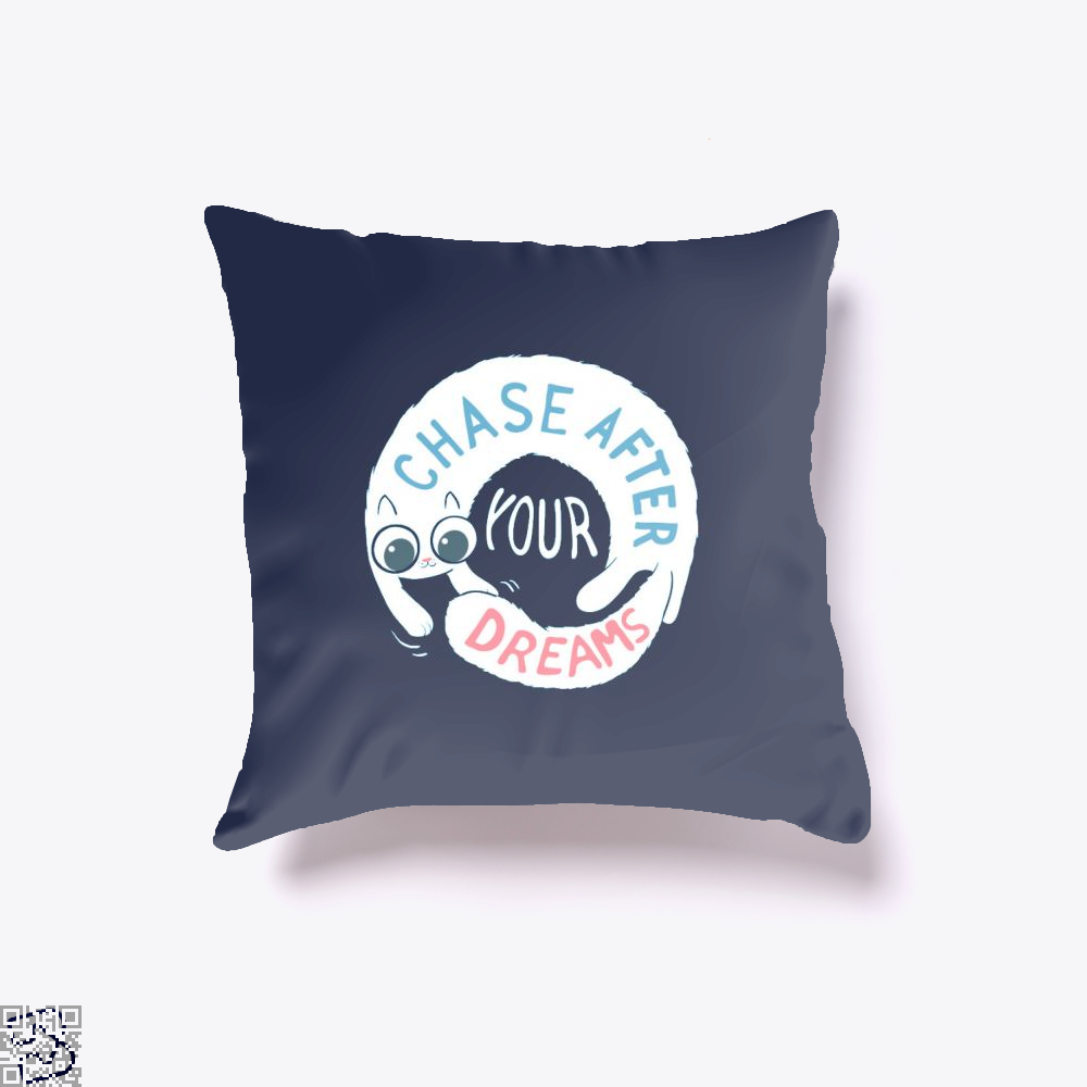 Chase After Your Dreams Cat Throw Pillow Cover - Blue / 16 X - Productgenjpg