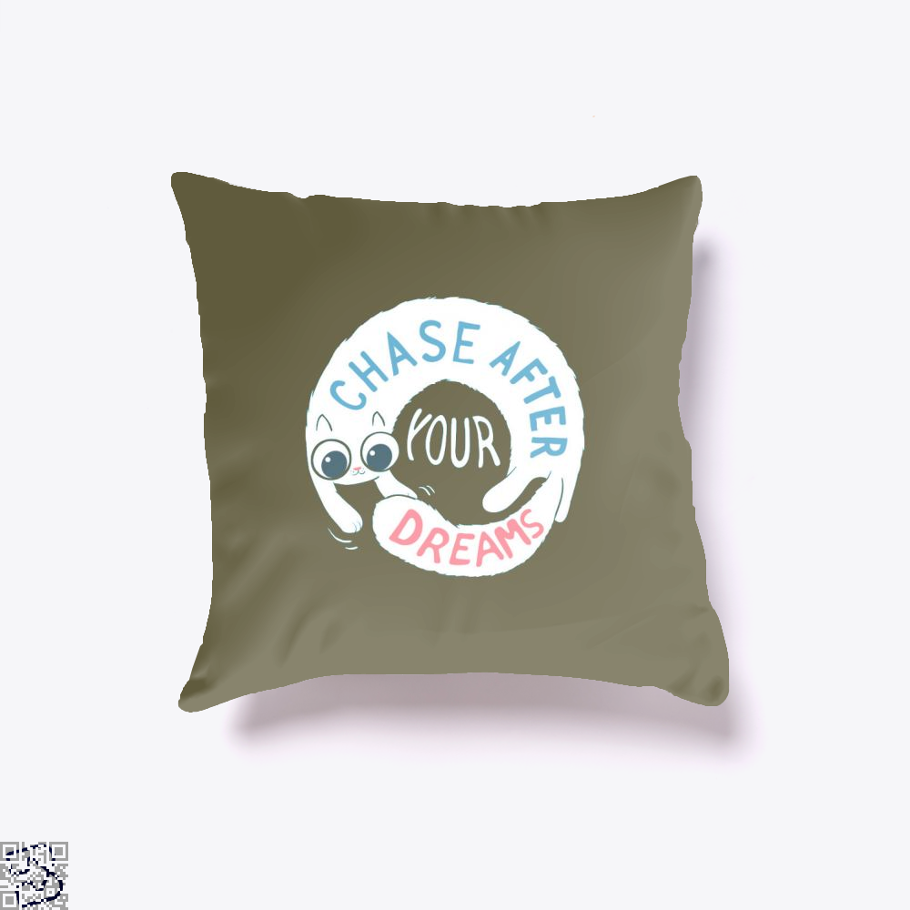 Chase After Your Dreams Cat Throw Pillow Cover - Brown / 16 X - Productgenjpg