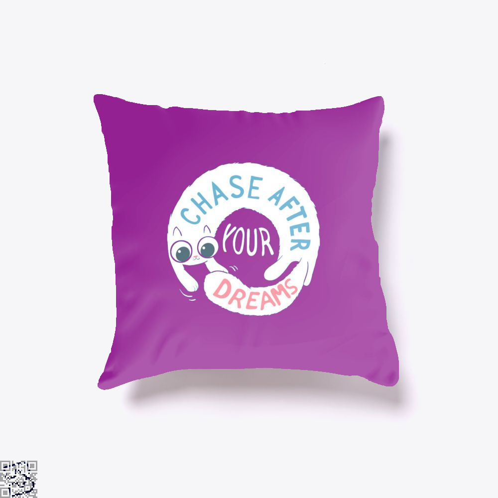 Chase After Your Dreams Cat Throw Pillow Cover - Purple / 16 X - Productgenjpg
