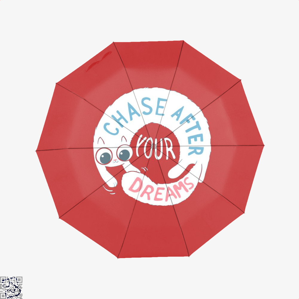 Chase After Your Dreams Cat Umbrella - Red - Productgenjpg