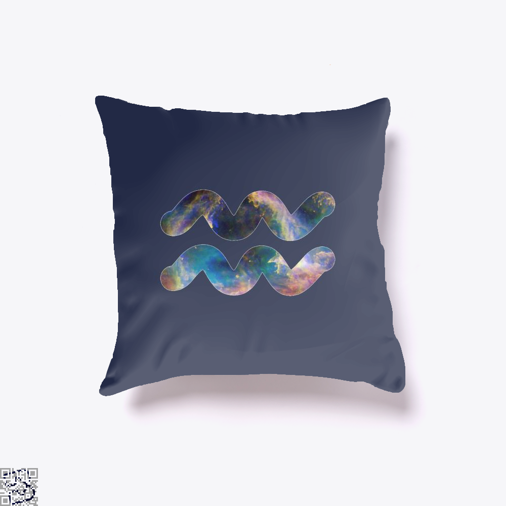 Cosmic Aquarius Galaxy Astrology Throw Pillow Cover - Blue / 16 X - Productgenapi