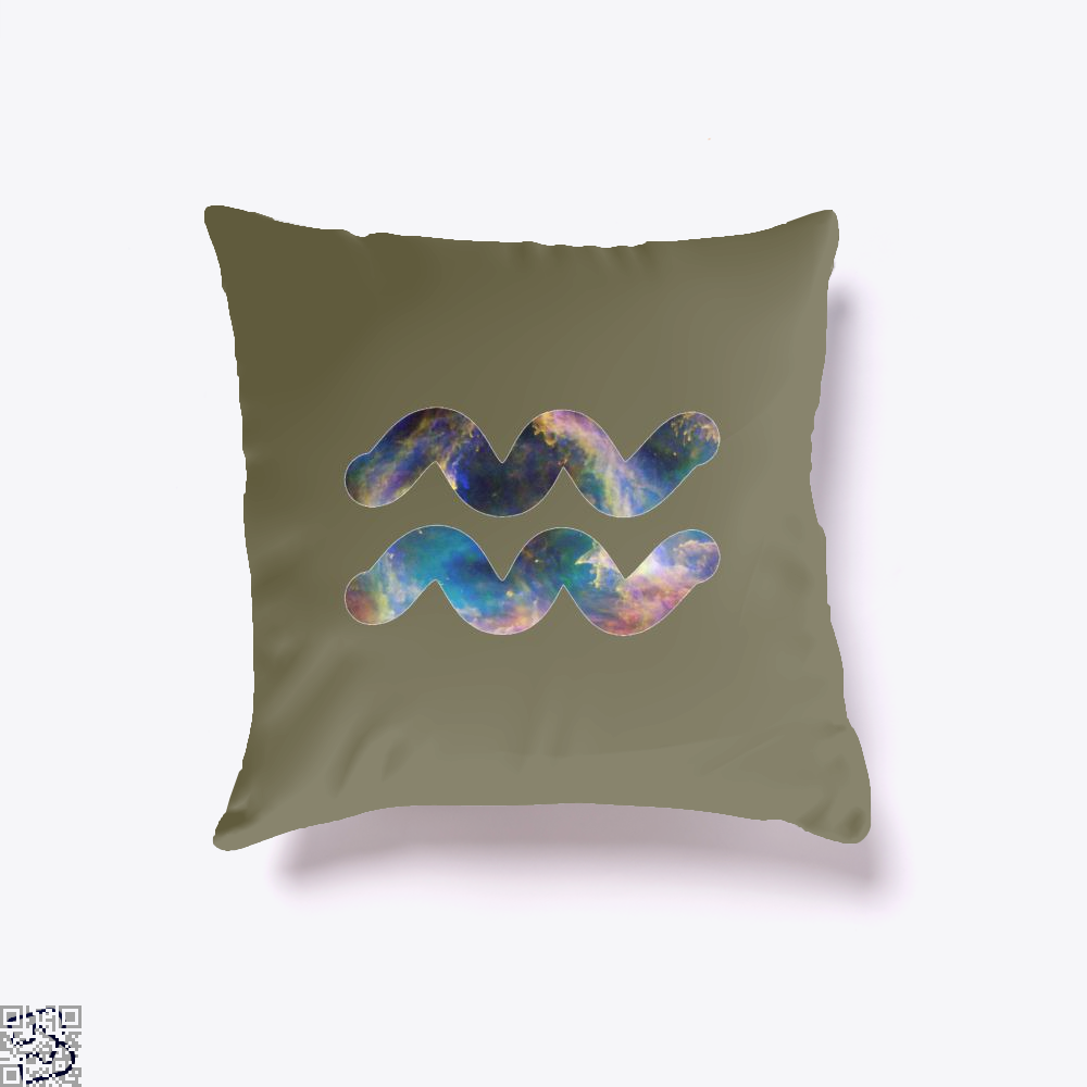 Cosmic Aquarius Galaxy Astrology Throw Pillow Cover - Brown / 16 X - Productgenapi