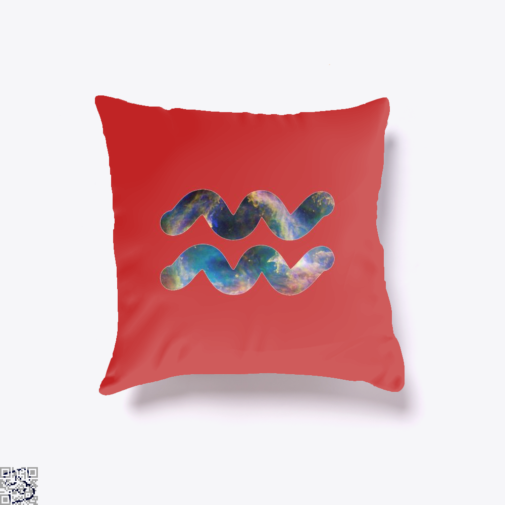 Cosmic Aquarius Galaxy Astrology Throw Pillow Cover - Red / 16 X - Productgenapi