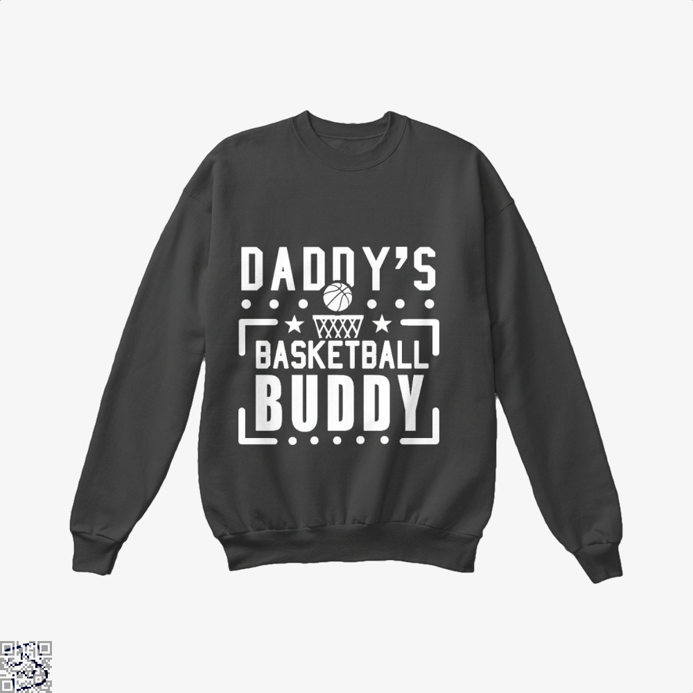 Daddys Basketball Buddy Fathers Day Crew Neck Sweatshirt - Black / X-Small - Productgenapi
