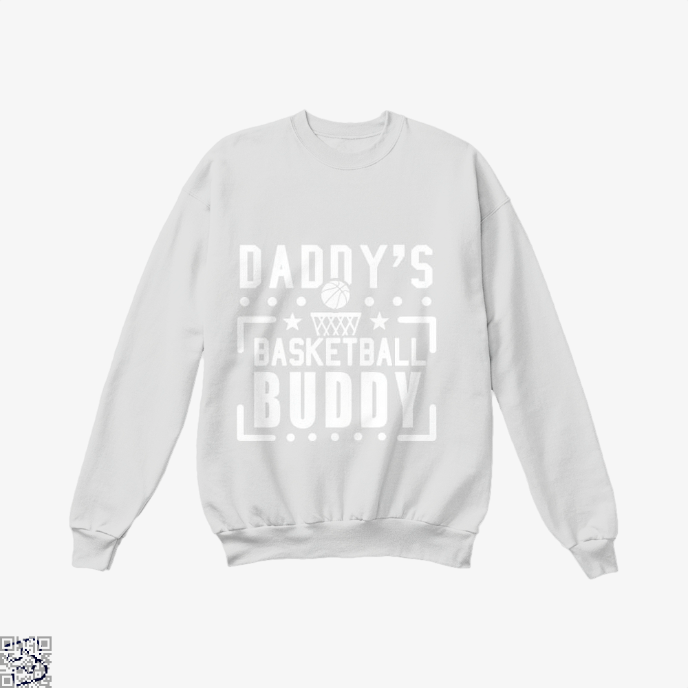 Daddys Basketball Buddy Fathers Day Crew Neck Sweatshirt - White / X-Small - Productgenapi