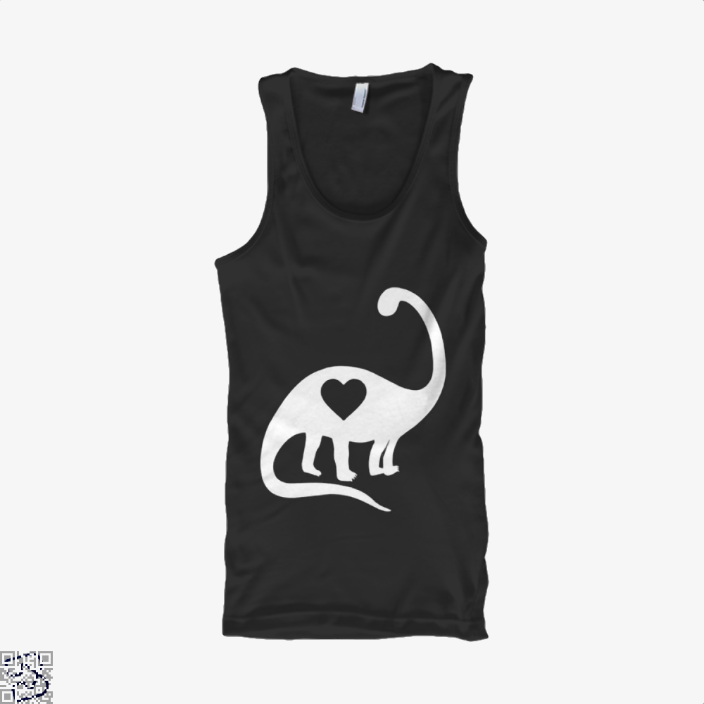 Dinosaur With Heart Valentines Day Tank Top - Women / Black / X-Small - Productgenjpg