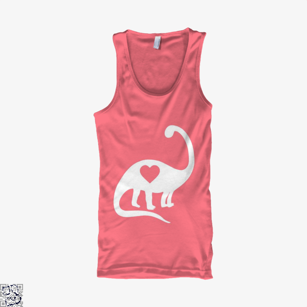Dinosaur With Heart Valentines Day Tank Top - Women / Pink / Xx-Small - Productgenjpg