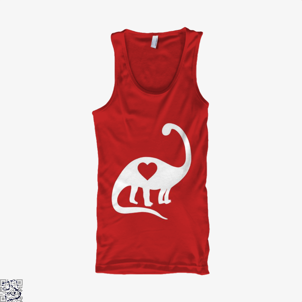 Dinosaur With Heart Valentines Day Tank Top - Women / Red / X-Small - Productgenjpg