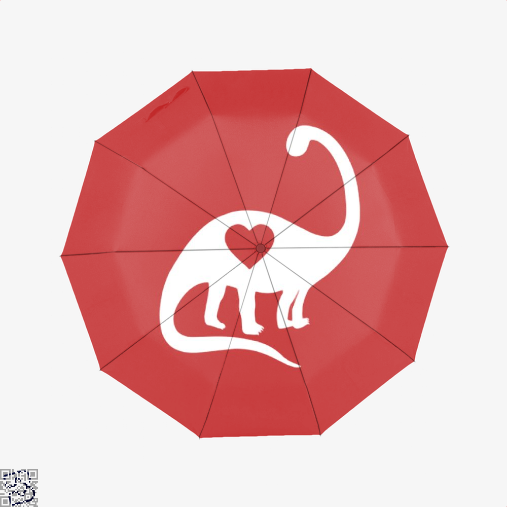 Dinosaur With Heart Valentines Day Umbrella - Red - Productgenjpg