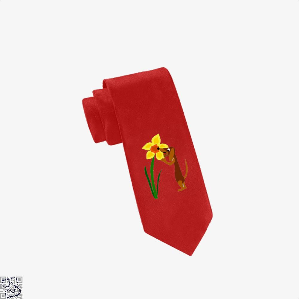 Funny Cute Dachshund Dog And Daffodil Flower, Dachshund Tie