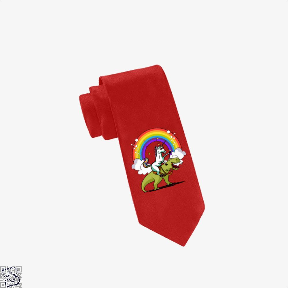 Unicorn Riding Trex Party Dinosaur Colorful Rainbow, Dinosaur Tie