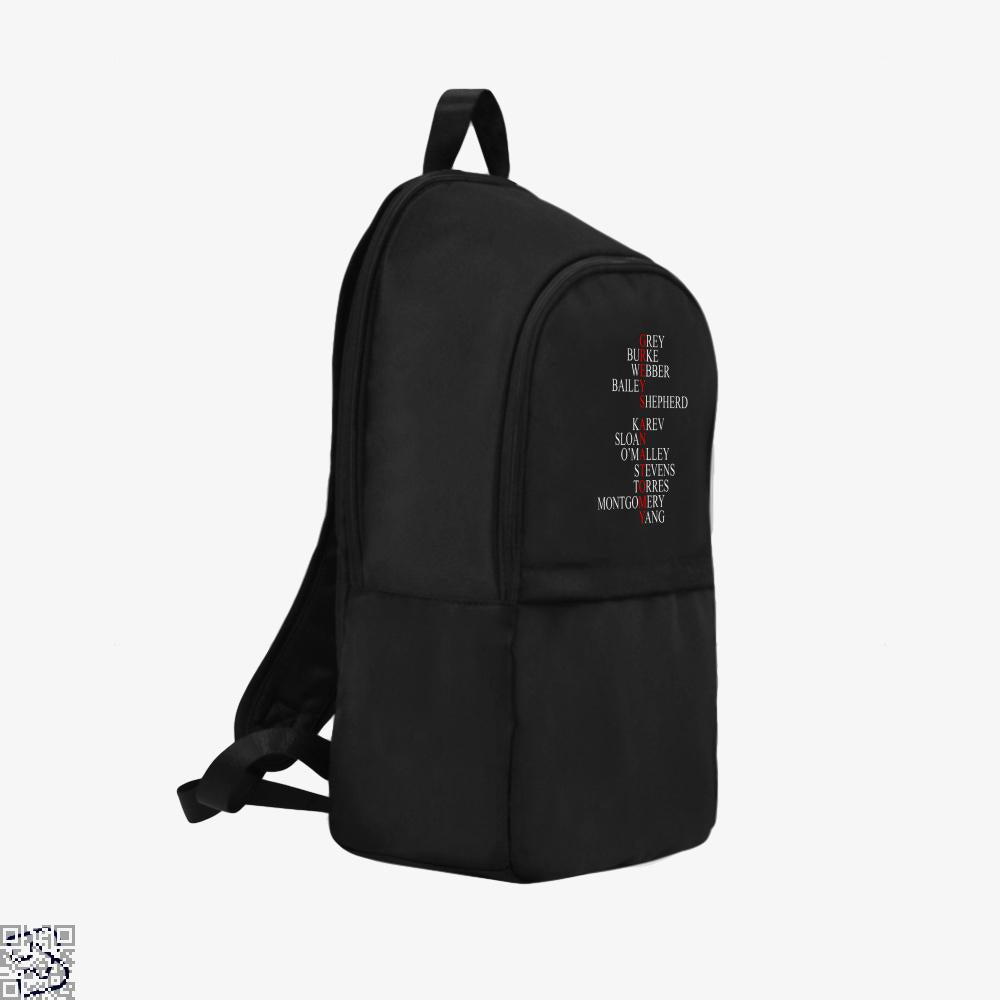 Greys Anatomy Cast Names, Grey's Anatomy Backpack