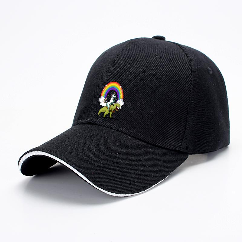 Unicorn Riding Trex Party Dinosaur Colorful Rainbow, Dinosaur Baseball Cap