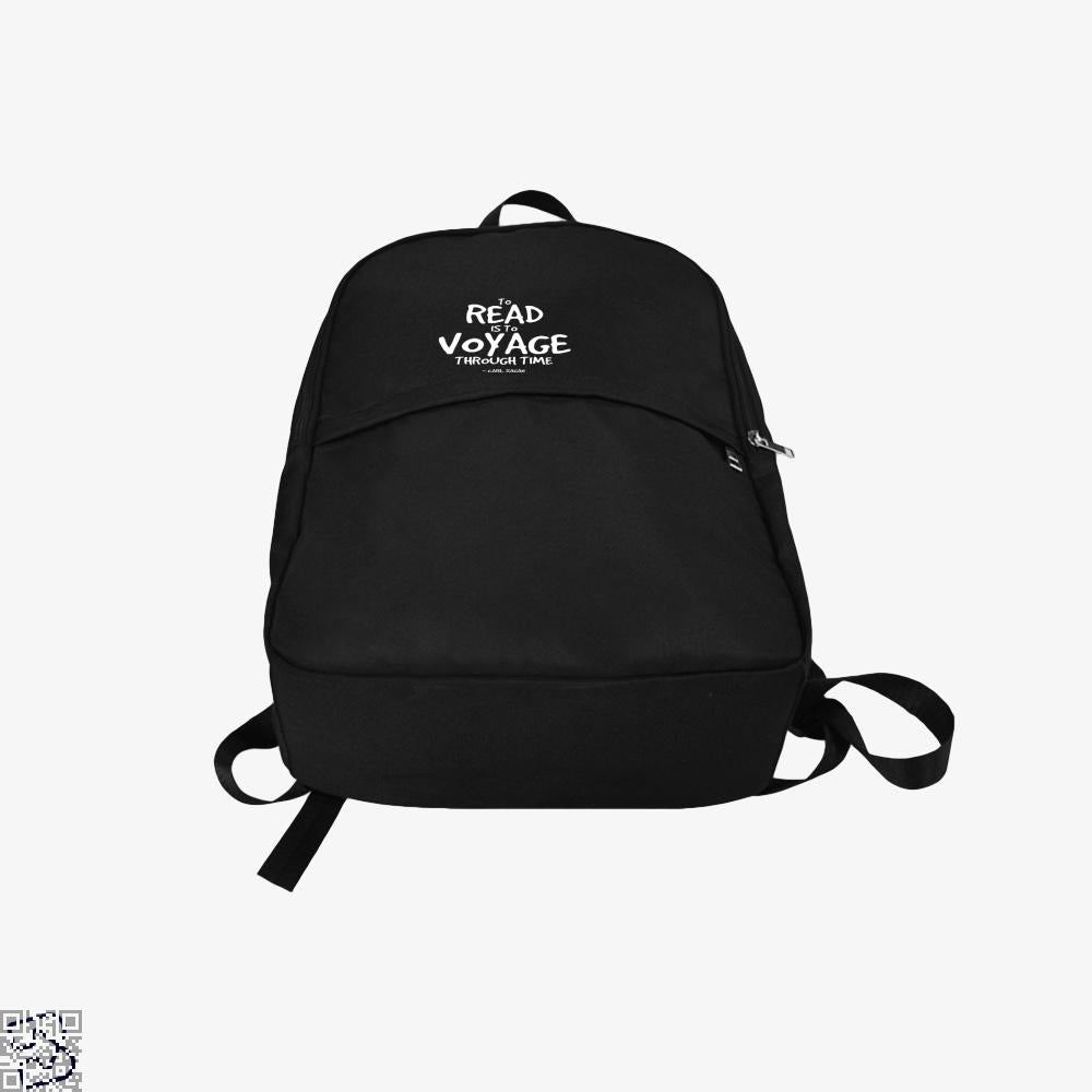 Reading Is Time Traveling Short Quote, Reading Backpack