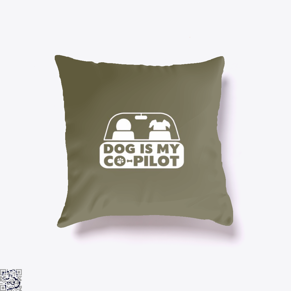 Dog Is My Co-Pilot Ironic Throw Pillow Cover - Brown / 16 X - Productgenjpg