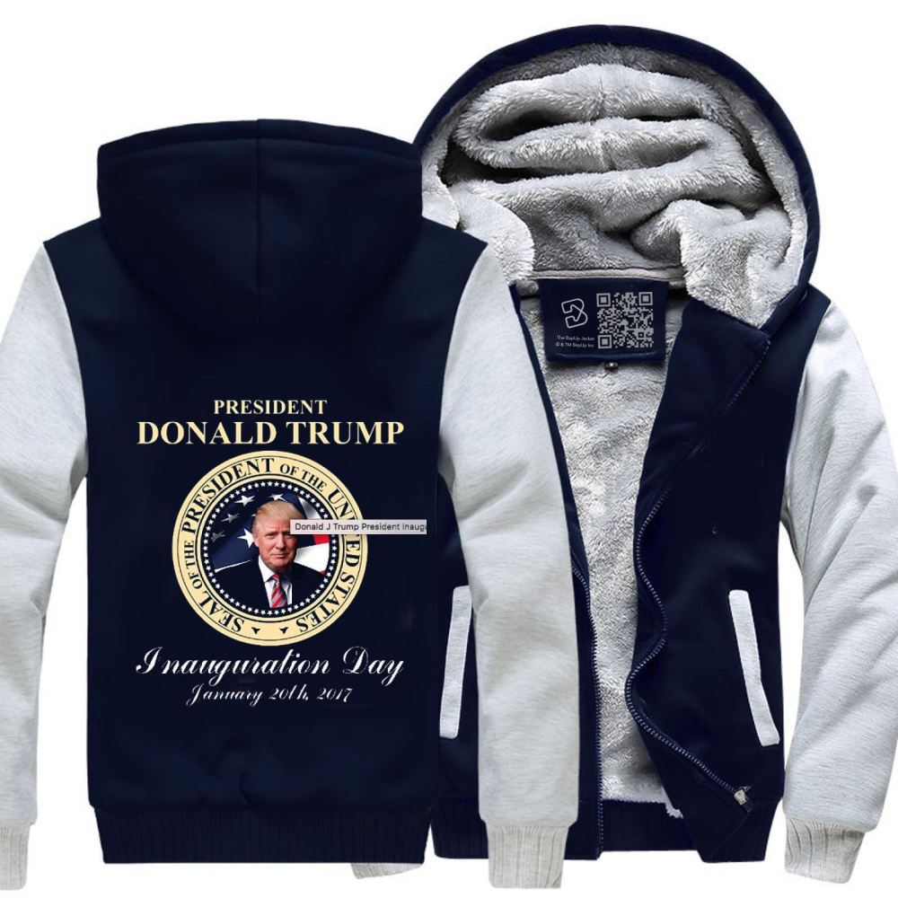 Donald J Trump President Inauguration Day Teasing Fleece Jacket - White / X-Small - Productgenjpg