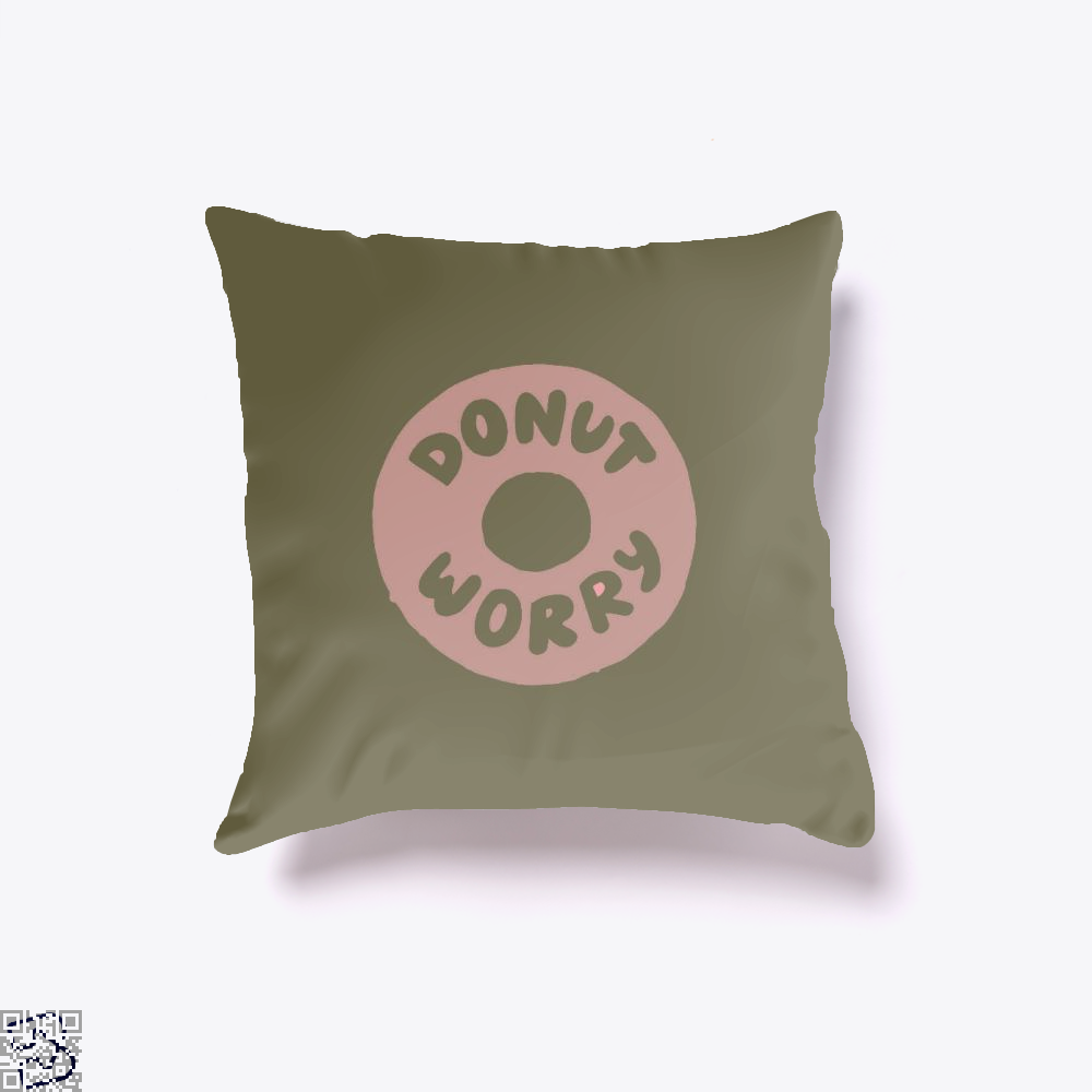 Donut Worry Doughnuts Throw Pillow Cover - Brown / 16 X - Productgenapi