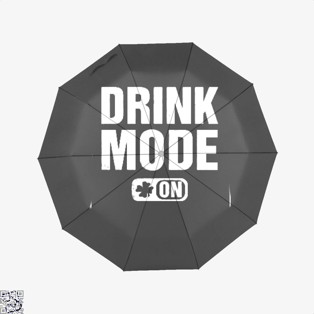 Drink Mode On Irish Clover Umbrella - Black - Productgenjpg