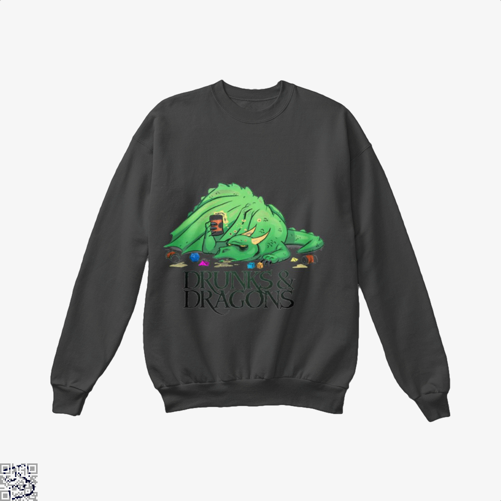 Drunk Dragon And Dungeon Crew Neck Sweatshirt - Black / X-Small - Productgenjpg