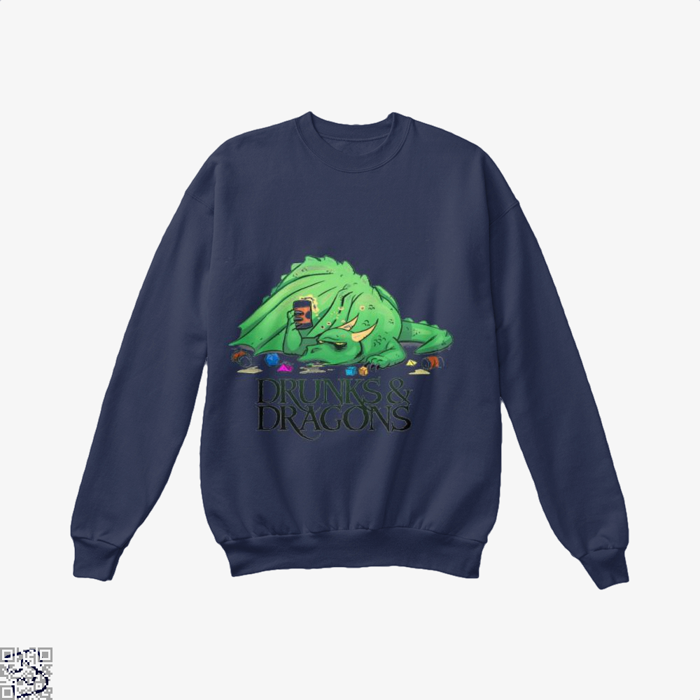 Drunk Dragon And Dungeon Crew Neck Sweatshirt - Blue / X-Small - Productgenjpg