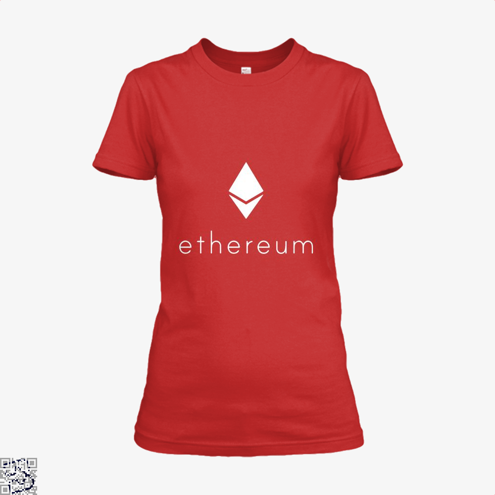 Ethereum Logo Cryptocurrency Shirt - Women / Red / X-Small - Productgenapi
