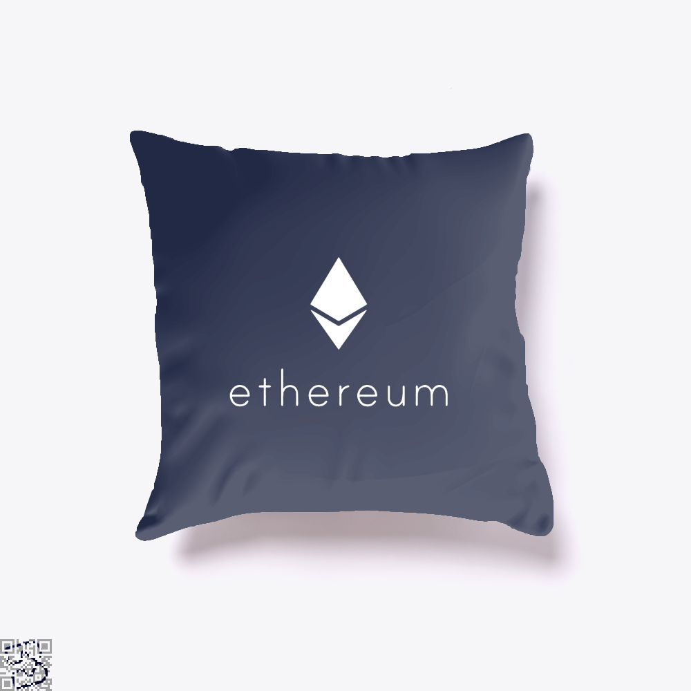 Ethereum Logo Cryptocurrency Throw Pillow Cover - Blue / 16 X - Productgenapi