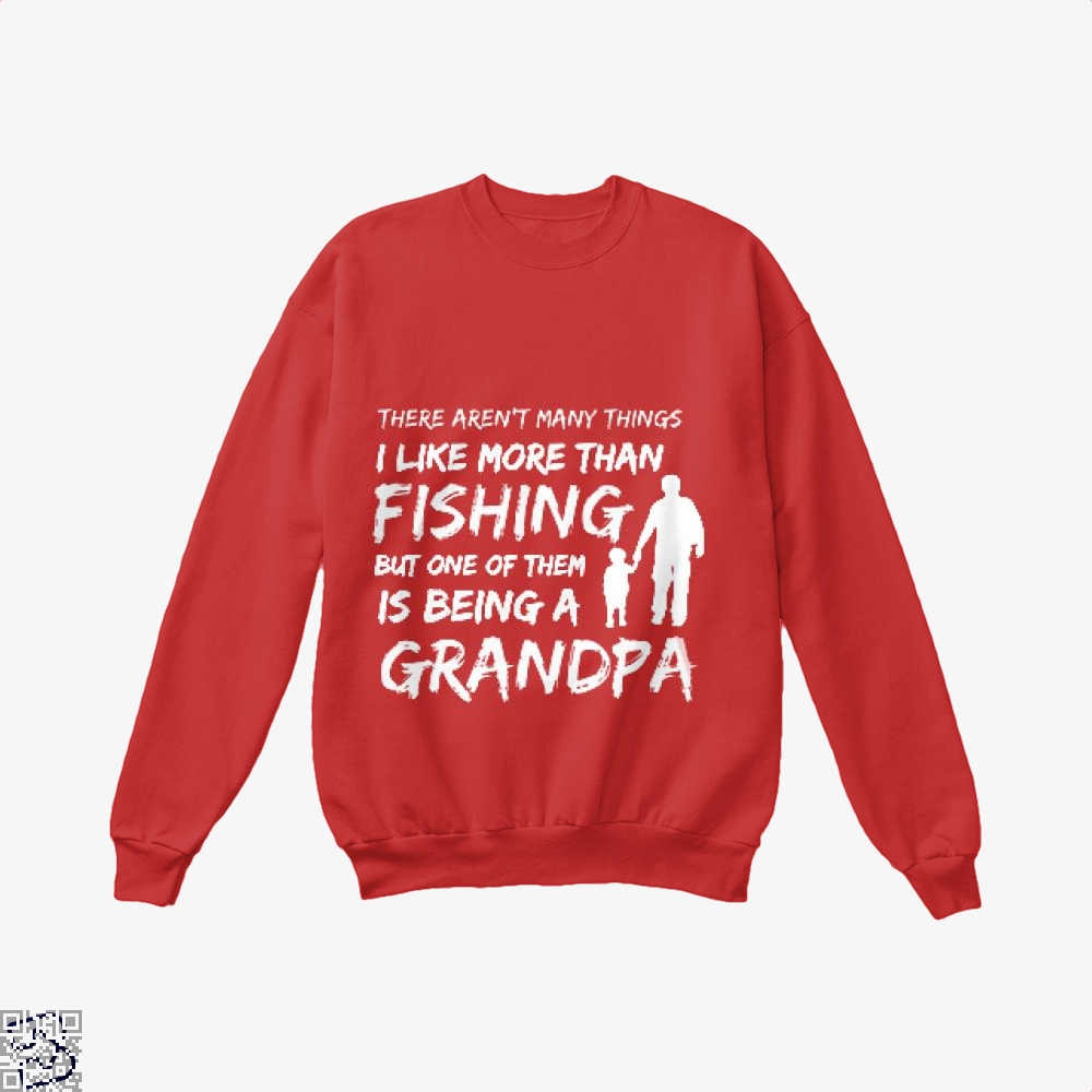 Fishing And Being A Grandpa Crew Neck Sweatshirt - Red / X-Small - Productgenjpg