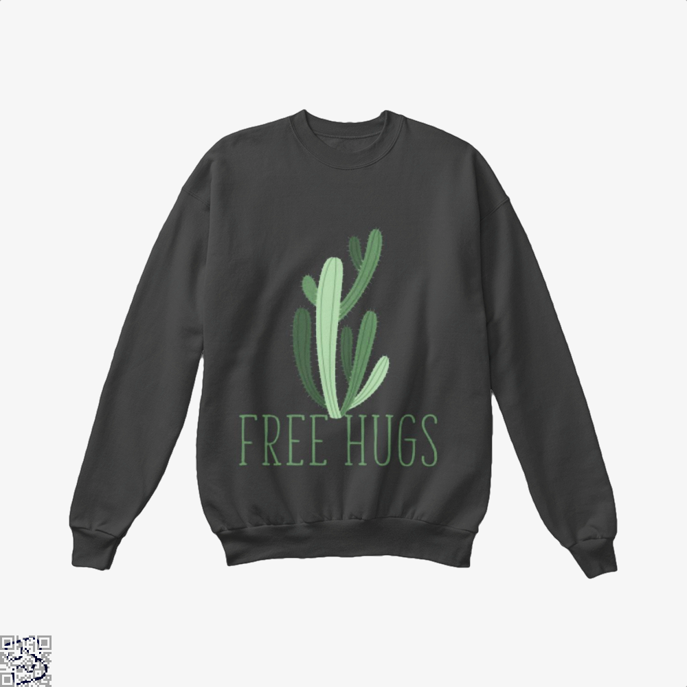 Free Hugs Cactus Satirical Crew Neck Sweatshirt - Black / X-Small - Productgenapi