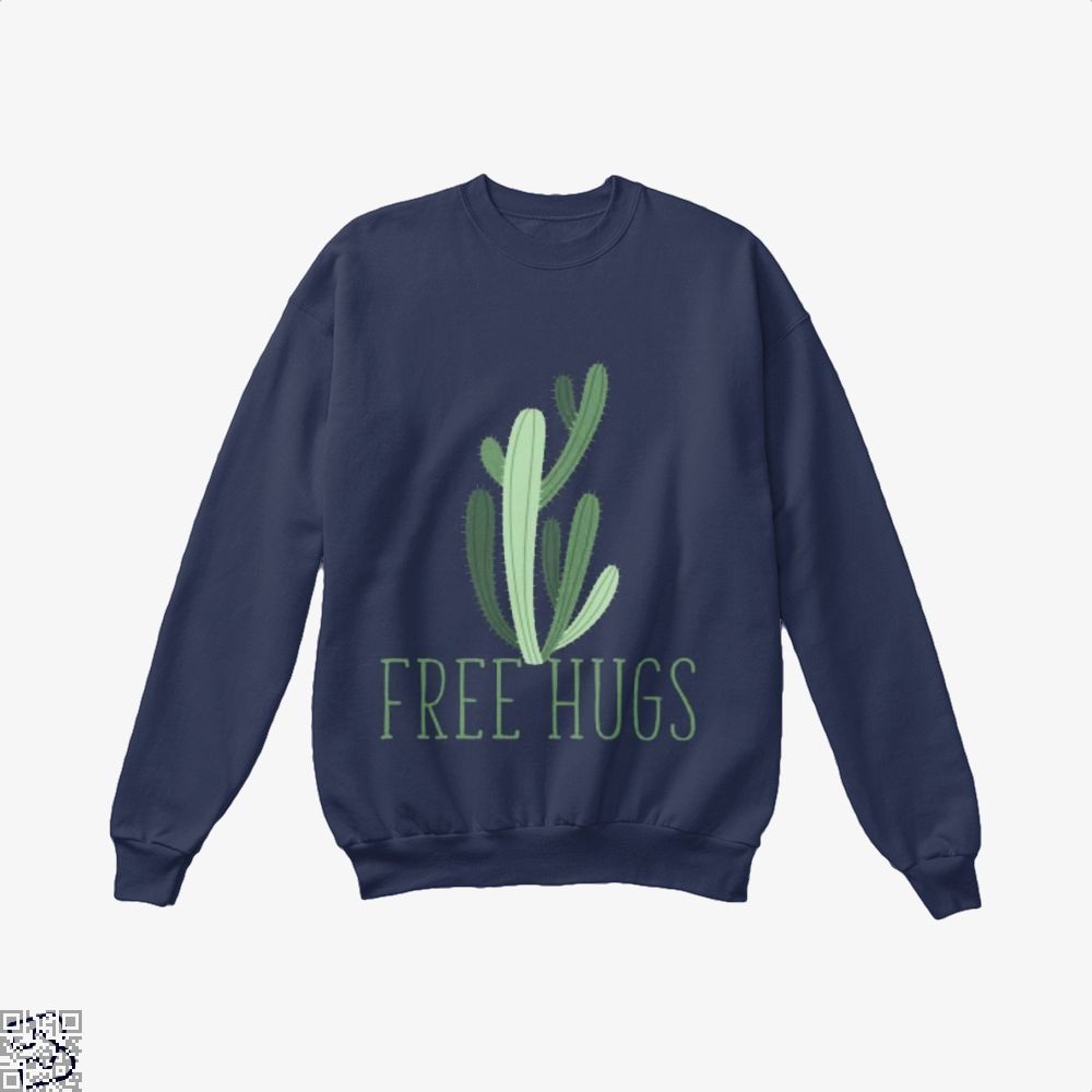 Free Hugs Cactus Satirical Crew Neck Sweatshirt - Blue / X-Small - Productgenapi