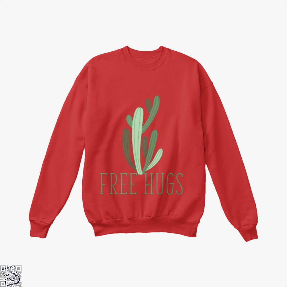 Free Hugs Cactus Satirical Crew Neck Sweatshirt - Red / X-Small - Productgenapi