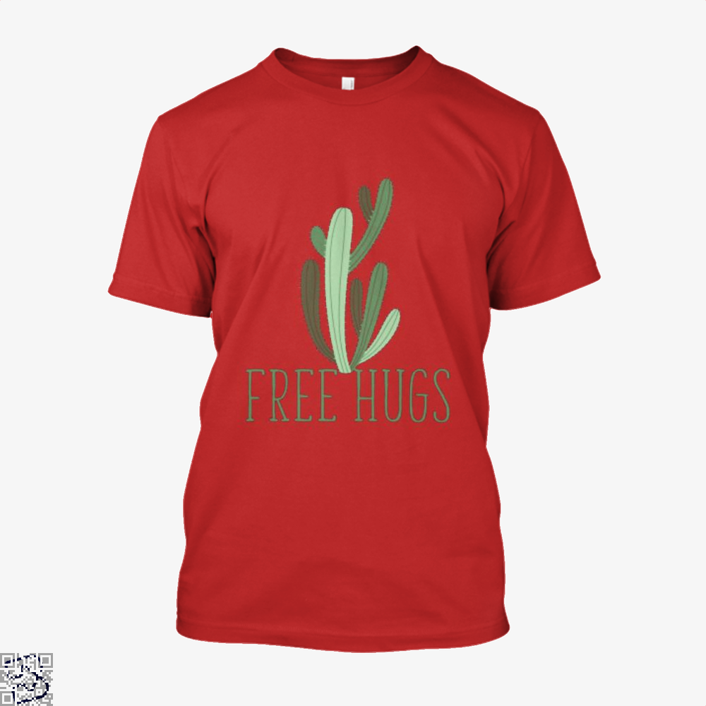 Free Hugs Cactus Satirical Shirt - Men / Red / X-Small - Productgenapi