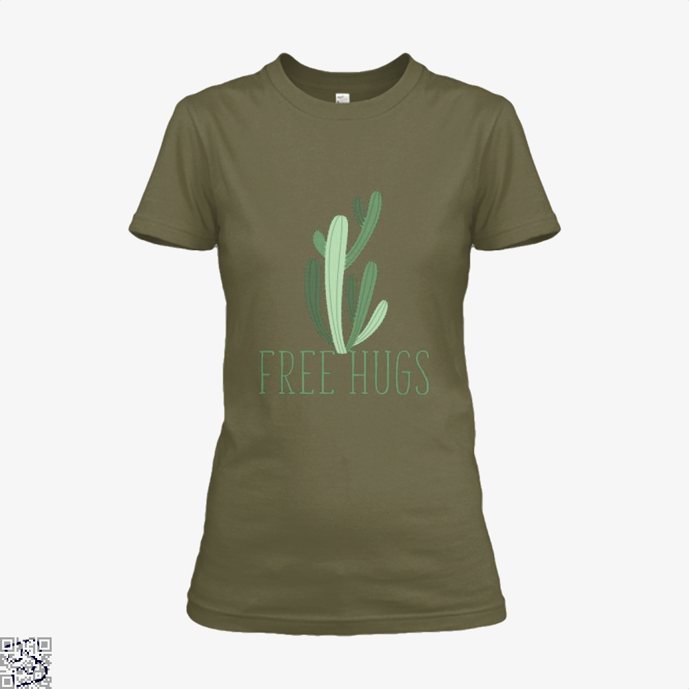 Free Hugs Cactus Satirical Shirt - Women / Brown / X-Small - Productgenapi