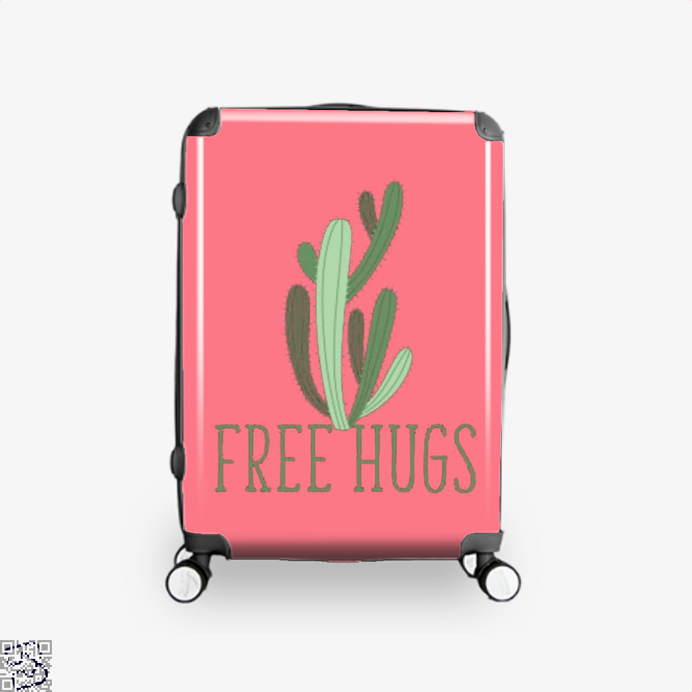 Free Hugs Cactus Satirical Suitcase - Pink / 16 - Productgenapi